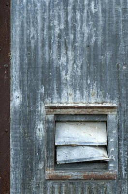 Photograph - Beat Up Louvers In A Corrugated Wall by Lynn Hansen