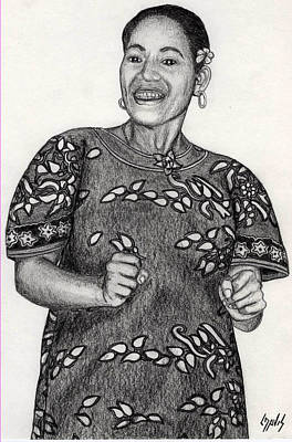 Art Print featuring the drawing Beat Woman by Lew Davis