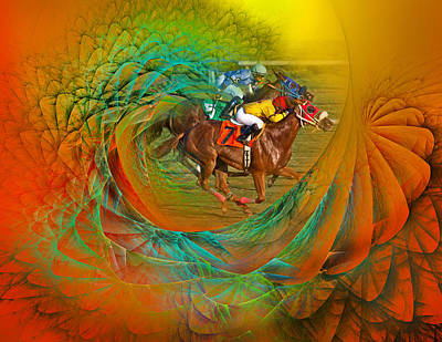 Race Horse Digital Art - Beating The Equation  by Betsy Knapp