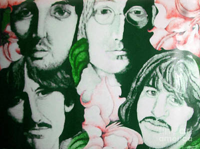 Musicians Drawings - Beatles Among The Flowers by Kathleen Allen