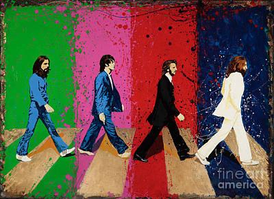Abbey Road Painting - Beatles Crossing by Chris Mackie