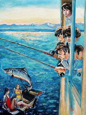 Fab Four Painting - Beatles Fishing  by Shannon Lee
