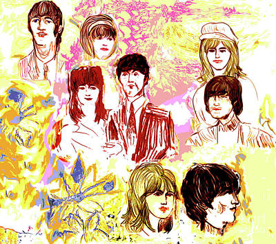 Beatles Life Music Drawing - Beatles Girls One by Moshe Liron