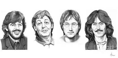 John Lennon Drawing - Beatles by Murphy Elliott