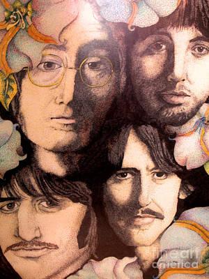 Musicians Drawings - Beatles Portrait by Kathleen Allen