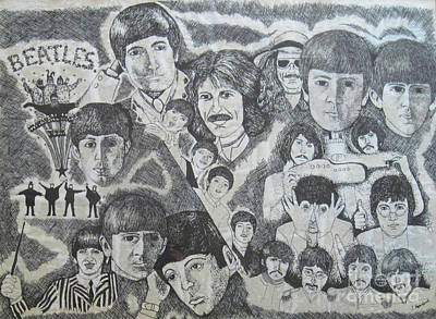 Musicians Drawings - Beatles Tribute by Susan Plenzick