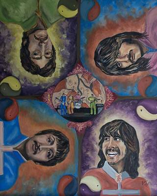 Sgt Pepper Beatles Painting - Beatles' Universe by Linda Riesenberg Fisler
