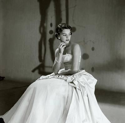 Beatrice Wagstaff Wearing A Ceil Chapman Dress Art Print by Horst P. Horst