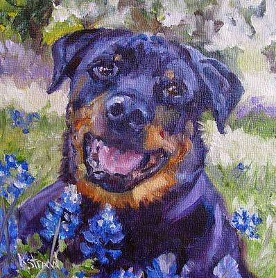 Dog Painting - Beau In The Bluebonnets by Kellie Straw