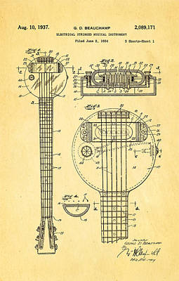 Beauchamp First Electric Guitar Patent Art 1937 Art Print