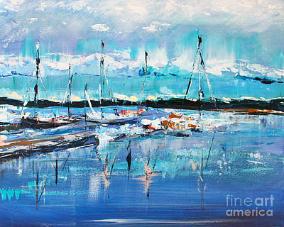 Lake Low Country Painting - Beaufort Marina by Alan Metzger