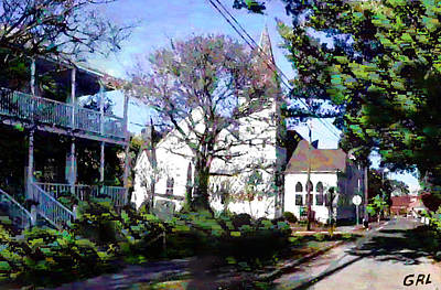 Painting - Beaufort North Carolina Street Church 1 - Original Digital Fine Art by G Linsenmayer
