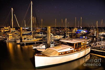 Beaufort Sc Night Harbor Art Print by Reid Callaway