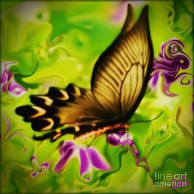 Fushia Mixed Media - Beautifly by SusanMarie StudioZ