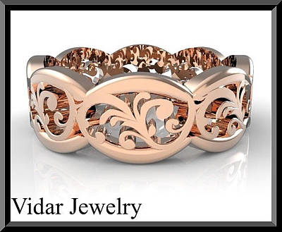 14k Jewelry - Beautiful 14k Rose Gold Leaf Woman Wedding Ring by Roi Avidar