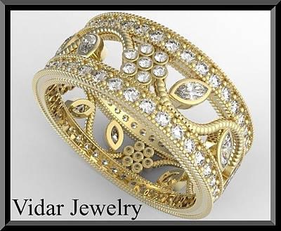 14k Jewelry - Beautiful 14k Yellow Gold Diamond Flower Woman Wedding Ring by Roi Avidar