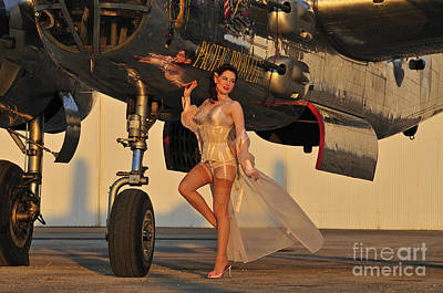 B-25 Photograph - Beautiful 1940s Pin-up Girl Standing by Christian Kieffer