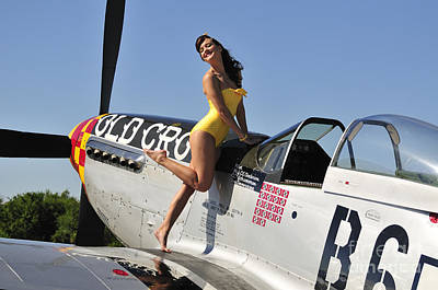 Cockpit Photograph - Beautiful 1940s Style Pin-up Girl by Christian Kieffer