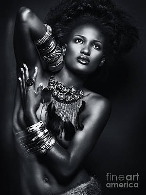 Beautiful African American Woman Wearing Jewelry Art Print by Oleksiy Maksymenko