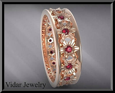 14k Jewelry - Beautiful And Unique Red Ruby 14k Rose Gold Flower Woman Wedding Ring by Roi Avidar