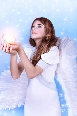 Beautiful Angel Praying Print by Anna Om