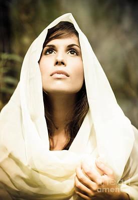Beautiful Angelic Woman Looking To The Heavens Print by Joe Fox