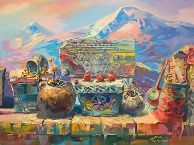 Painting - Beautiful Armenian Stones With Crosses And Ornaments by Meruzhan Khachatryan