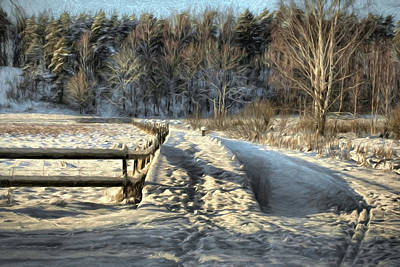 Pathway Digital Art - Beautiful Artistic Paiterly Pathway Covered With White Snow by Leif Sohlman