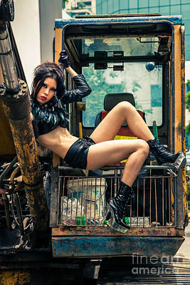 Sex Symbol Photograph - Beautiful Asian Woman On Excavator by Fototrav Print