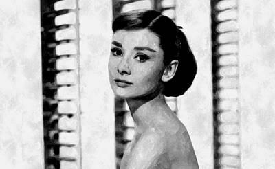 Audrey Hepburn Drawing - Beautiful Audrey by Florian Rodarte
