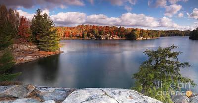 Nature Photograph - Beautiful Autumn Morning Landscape Panoramic Nature Scenery by Oleksiy Maksymenko