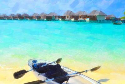 Wooden Platform Painting - Beautiful Beach With Water Bungalows At Maldives by Lanjee Chee