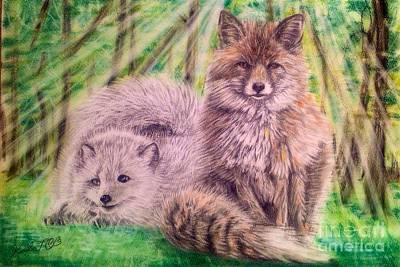 Forest Drawing - Beautiful Because Fox Alive by Keiko Olds