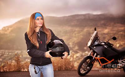 Photograph - Beautiful Biker Girl by Anna Om