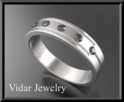 14k Jewelry - Beautiful Black Diamond 14k White Gold Men's Wedding Ring by Roi Avidar