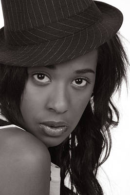 Photograph - Beautiful Black Woman In A Hat In Monochrome by John Orsbun