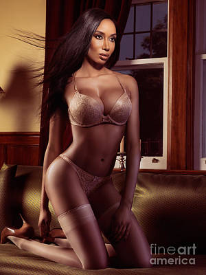 Beautiful Black Woman In Lingerie Posing On A Bed Art Print