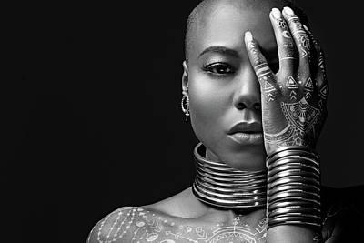 Photograph - Beautiful Black Woman Wearing Jewellery by Lorado
