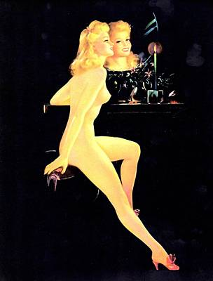 Candle Stick Digital Art - Beautiful Blond Nude by Studio Artist