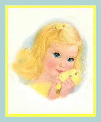 Youngster Digital Art - Beautiful Blonde Haired Blue Eyed Baby Girl by Anonymous circa 1960