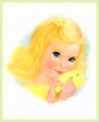 Youngster Digital Art - Beautiful Blonde Haired Blue Eyed Baby Girl Watercolor by Anonymous Circa 1960