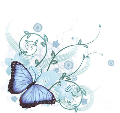 Copy Mixed Media - Beautiful Blue Butterfly Background by Christos Georghiou