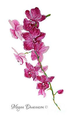 Beautiful Burgundy Orchid Flower Original Floral Painting Pink Orchid I By Megan Duncanson Madart Art Print by Megan Duncanson