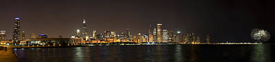 Sky Photograph - Beautiful Chicago Skyline With Fireworks by Adam Romanowicz