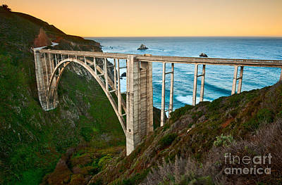 Rocky Creek Photograph - Beautiful Coastal View Of Big Sur In California In Sunrise With Bixby Bridge. by Jamie Pham