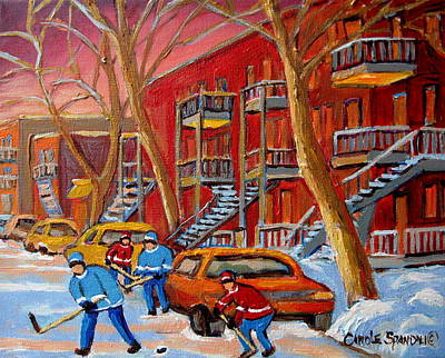 Afterschool Hockey Montreal Painting - Beautiful Day For Hockey by Carole Spandau