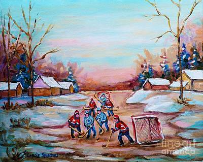 Montreal Winterscenes Painting - Beautiful Day For Pond Hockey Winter Landscape Painting  by Carole Spandau