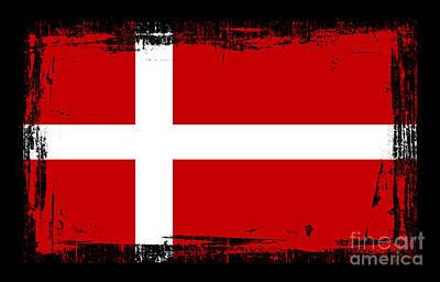 Denmark Mixed Media - Beautiful Denmark Flag by Pamela Johnson