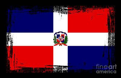 Republic Mixed Media - Beautiful Dominican Republic Flag by Pamela Johnson