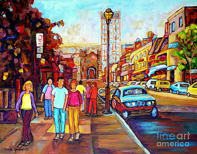 Montreal Memories Painting - Beautiful  Downtown City Stroll  Cafe Paintings Montreal Restaurants On Crescent Street C Spandau by Carole Spandau